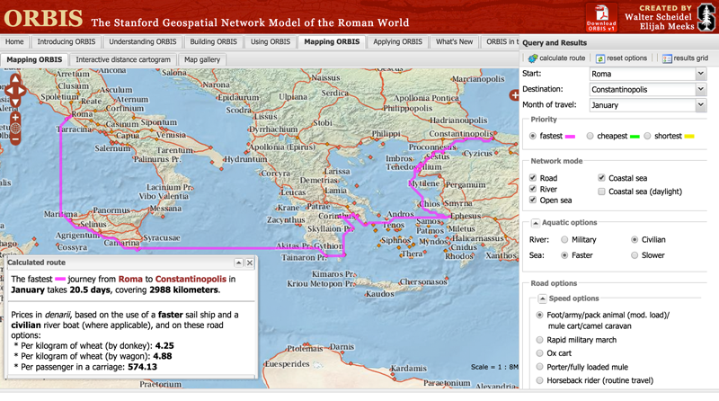 ORBIS: The Stanford Geospatial Network of the Roman Empire