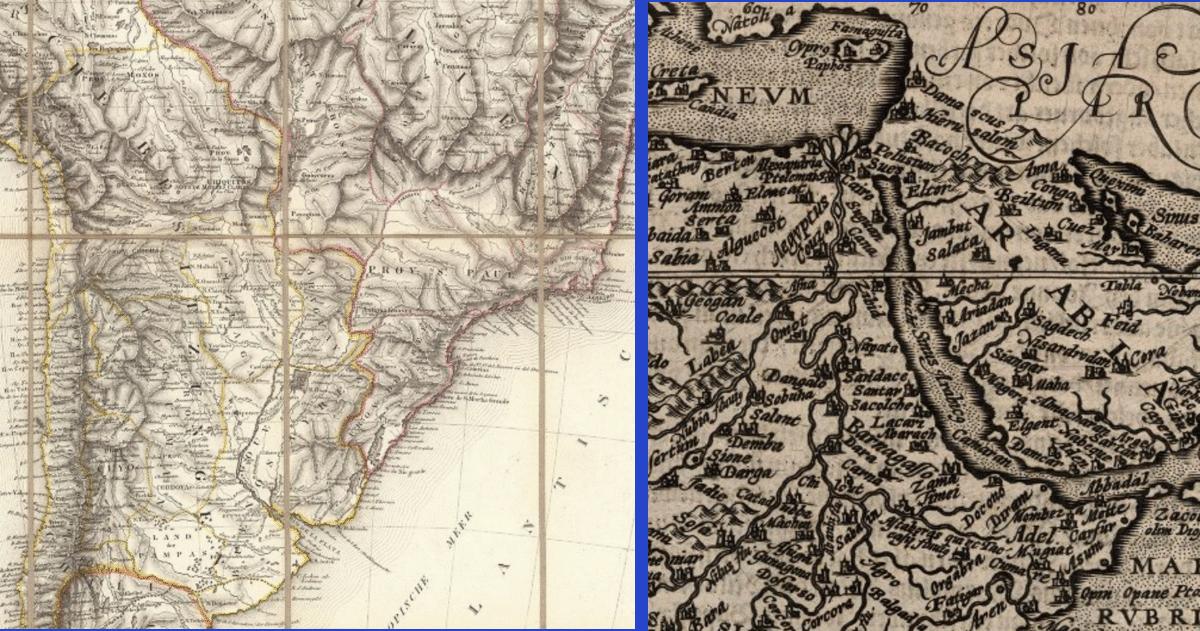 "a) S. America 1812, b) ""Aphrica"" (& Arabia) 1600"